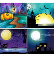 Four night scenes with fullmoon vector image