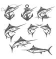 Marlin fishing emblems badges and design elements vector image