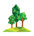 Origami tree on polygon field vector image
