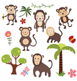Set funny monkeys vector image