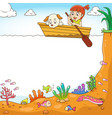 frame design with girl and her dog on boat vector image