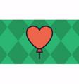 balloon heart with green diamond-shaped vector image