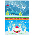 Set of Christmas and New Years banners funny santa vector image vector image
