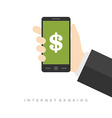 Business man hand holding smart phone vector image