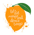 isolated orange mango fruit silhouette vector image