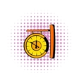 Clock icon in comics style vector image
