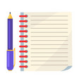 diary with spiral or page of copybook and ink pen vector image