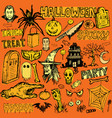 halloween hand drawn doodle elements vector image