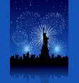 new york city with fireworks vector image