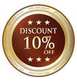 Ten Percent Discount Gold Medal vector image