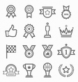 trophy and prize symbol line icon set vector image