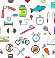 Healthy lifestyle colorful pattern icons vector image
