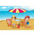 Two boys at the beach near the umbrella and chairs vector image