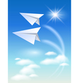 Two paper airplane vector image vector image