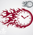 Time is out concept clock with burning fire Eps 8 vector image