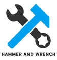 Hammer And Wrench Flat Icon with Caption vector image