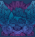 line art of angel wings scary skull vector image