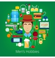 Man Hobby Icons Set with Elements of Mens Life vector image