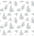 seamless pattern with holly branches vector image