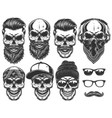 set of different skull characters with different vector image