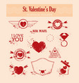 set of stvalentine s day postage-stamps vintage vector image