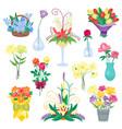 set of vintage floral bouquet garden vector image