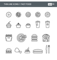 Set with thin line icons for Fast food vector image