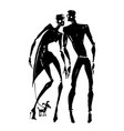 silhouettes of woman and man vector image