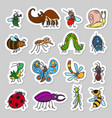 cute insects and bugs stickers set vector image