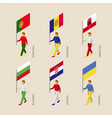set of isometric 3d people with flags of european vector image