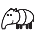Cute animal tapir - vector image vector image