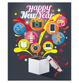 Gift Box with Happy New Year Text and Various Icon vector image