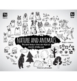 Big bundle animal and nature doodles icons objects vector image