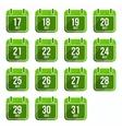 Julytor flat calendar icons Days Of Year Set 20 vector image