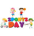 poster design with kids and sports vector image