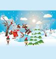 santa riding reindeer sleigh vector image
