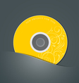 Yellow CD in black package vector image
