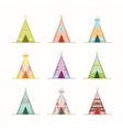Cartoon Wigwams or Tepees Icons Set vector image
