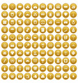 100 wealth icons set gold vector image