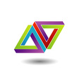 Pen rose triangle logo vector image