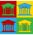 Pop art bank icons vector image