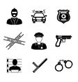 Set of monochrome police icons - gun car crime vector image