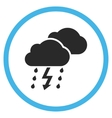 Thunderstorm Flat Rounded Icon vector image
