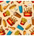 Retro seamless fast food chicken menu pattern vector image