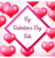 Big Valentines day Sale with pink square frame vector image