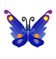 butterfly icon in flat blue butterfly icon vector image