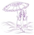 girl in a sun lounger on the beach with cocktail vector image