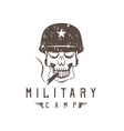 military camp grunge emblem with smoking skull and vector image