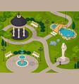 park landscape isometric design composition vector image