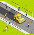 asphalt laying isometric composition vector image